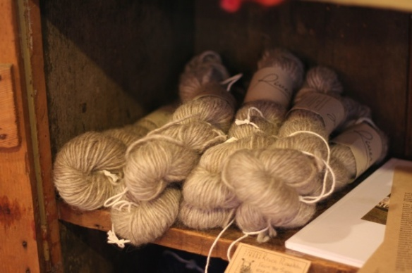 Natural skeins of Cotswold wool.