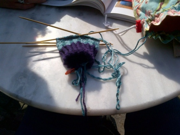 Cafe knitting.
