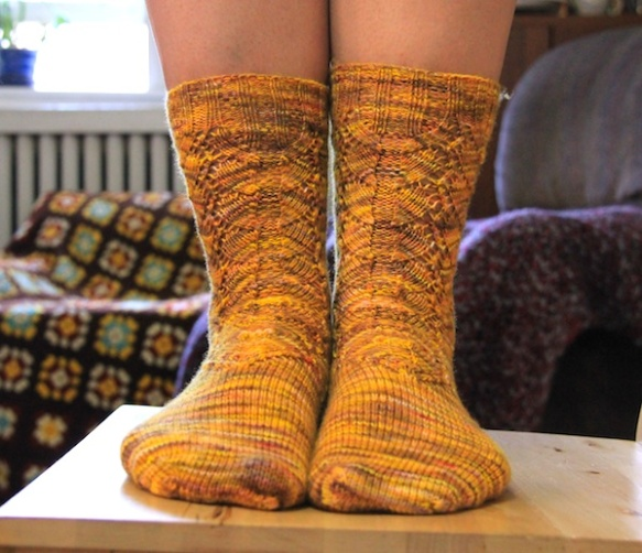 Finished socks, bad camera angle. Sorry.
