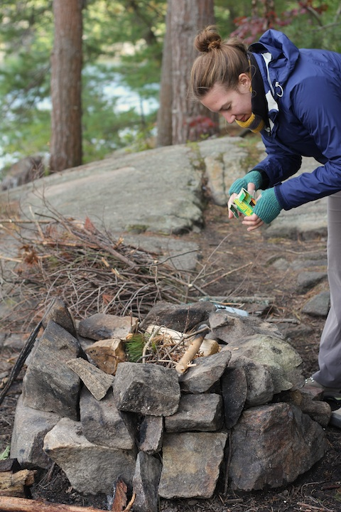 Here I am, trying to start a fire (with great success a few minutes later). For the record, I'm wearing wool socks, hiking boots, two pairs of pants, a wicking t-shirt, a wool base layer, a medium-weight base layer, a fleece jacket, a rain coat, my shawl, and mitts – and I was still cold.
