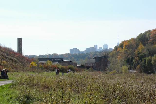 View of the city centre from the back of the old quarry, with the Brickworks buildings in the foreground. You just just see the CN Tower over to the right.