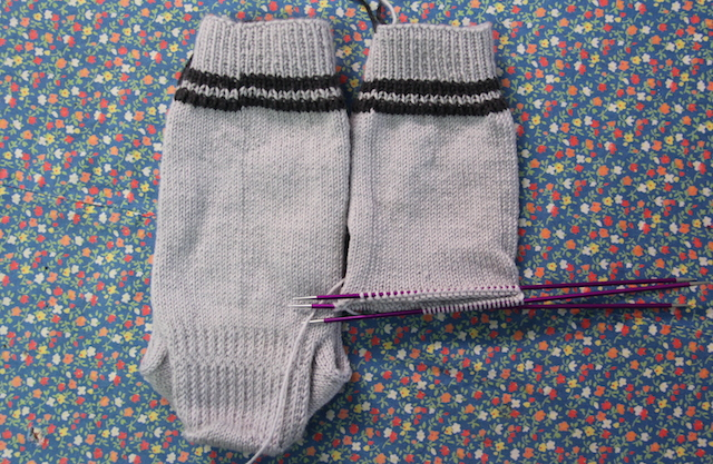 Just an inch from dividing for the heel on sock #2.