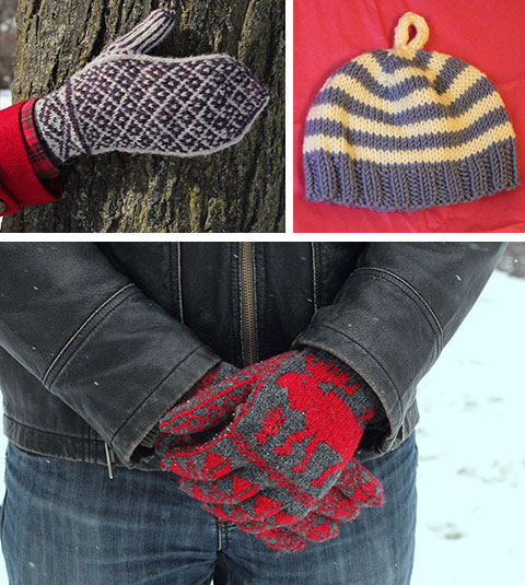Clockwise from top left: Cedarvale mittens, baby hat, and moose gloves