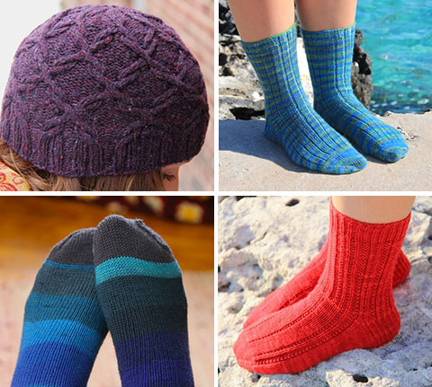 Scrollwork hat, Seafoam socks, Stepping-Stones, plain socks