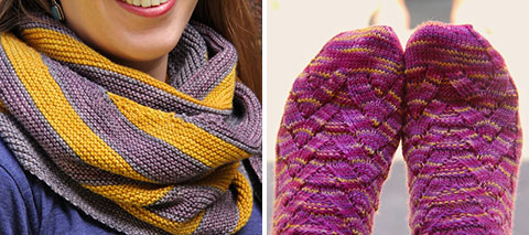 Happy Street shawl, Monkey socks