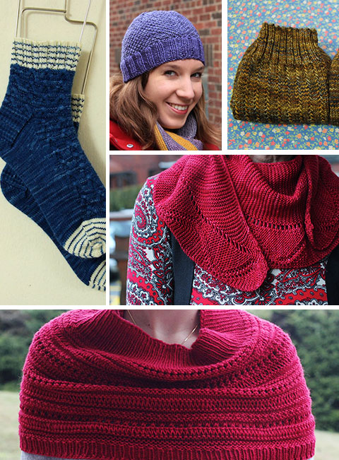 Saltburn socks, Rift hat, Charade socks, Charm shawl, Riverbank cowl