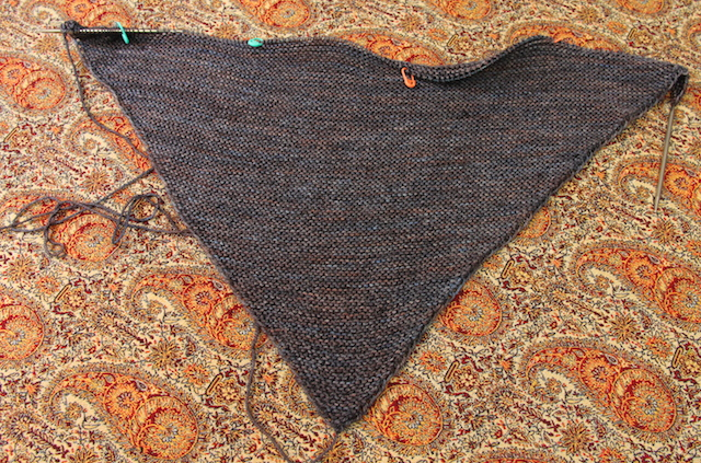 For scale, it's already 14 inches deep, with another six or seven garter ridges to go, plus the border. This is going to be a big shawl.