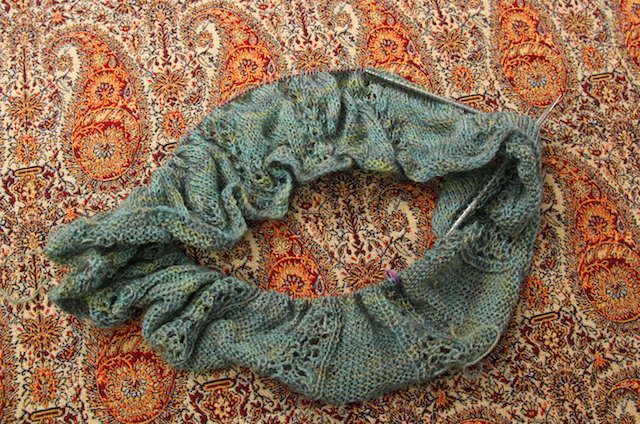 Hunter St. Cowl, cast on April 6, 2013 (appearance not improved for having been shoved in a small bag. Ahem.)