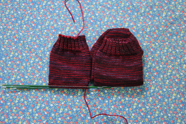 This picture is from the beginning of November, and I hadn't added a stitch to these socks until I pulled them out of their bag a few days before Christmas.