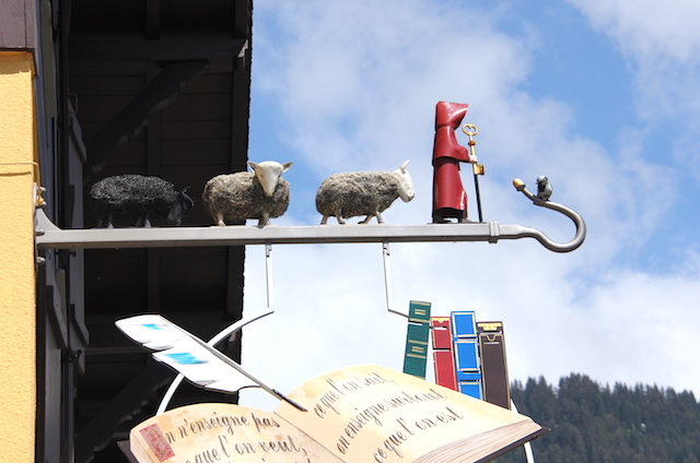 Funny, sheepy sign above a little restaurant in Villars, Swizerland.